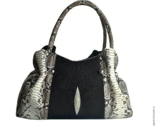 Сумка из кожи ската и питона. Женская сумка. Сумка из ската. Сумка из питона.Сумка . Подарок женщине. Красивая сумка. Сумка на каждый день.