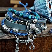 Украшения handmade. Livemaster - original item Suede blue boho bracelet with horse