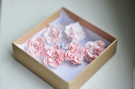 """Серьги ручной работы. Ярмарка Мастеров - ручная работа. Купить Серьги """"Розовые цветочки"""". Handmade. Бледно-розовый, серьги с цветами"""