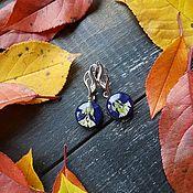 Earrings handmade. Livemaster - original item Earrings: blue earrings with flowers. Handmade.