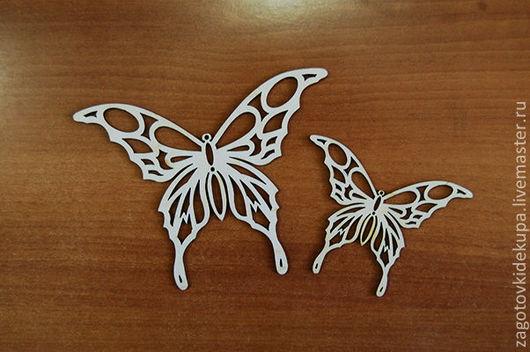 Набор бабочек (2 шт.) Размер: 15х12, 10х8 см Материал: фанера 3 мм