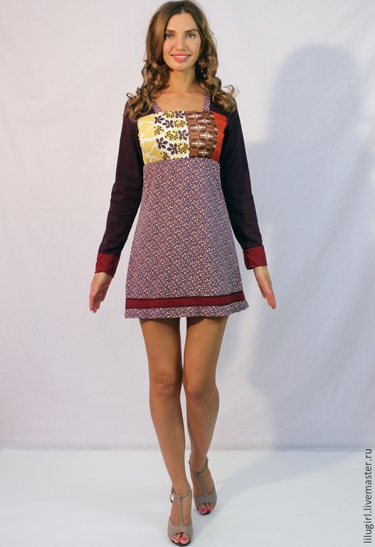 Платья ручной работы. Ярмарка Мастеров - ручная работа. Купить -67% SALE! Платье с фруктами с длинным рукавом. Handmade.
