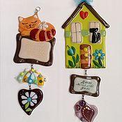 Для дома и интерьера ручной работы. Ярмарка Мастеров - ручная работа Фьюзинг панно, именная табличка, пожелание счастья в дом.. Handmade.