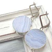 Украшения ручной работы. Ярмарка Мастеров - ручная работа Серьги круглые агат серо-голубой серебро / натуральные камни. Handmade.