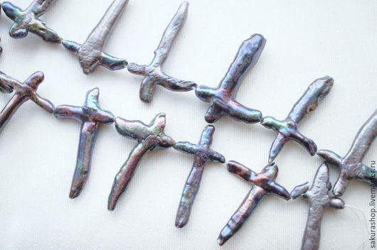 Для украшений ручной работы. Ярмарка Мастеров - ручная работа. Купить Жемчуг крест черный пресноводный от 18 до 40мм. Handmade.