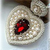 """""""Тайна Любви""""- жемчужный кулон с кристаллом."""