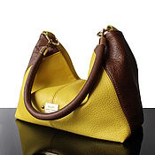 Сумки и аксессуары handmade. Livemaster - original item Autumn Leather shoulder bag Yellow-brown. Handmade.