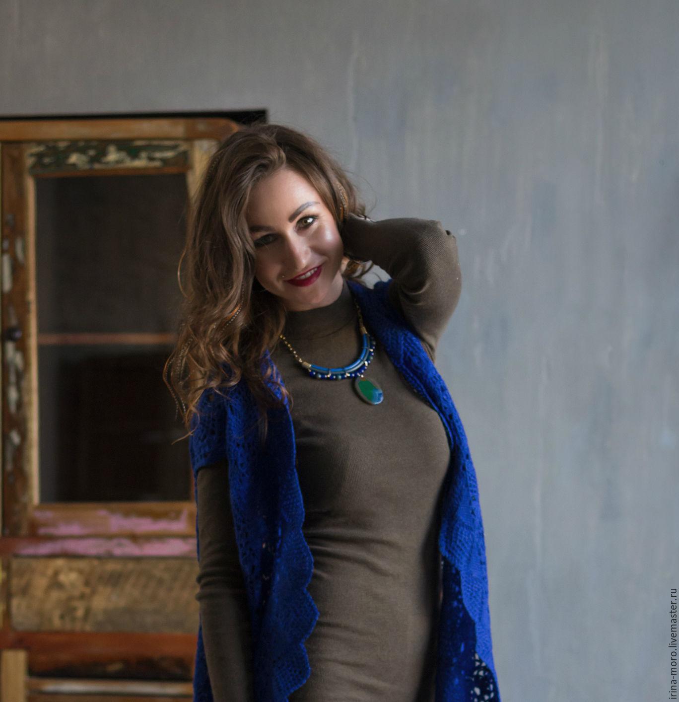 Irene Moreau. Irina Moro.  Necklace blue-green `Holland`. Handmade necklace. Multi-row necklace. Necklace with stone.