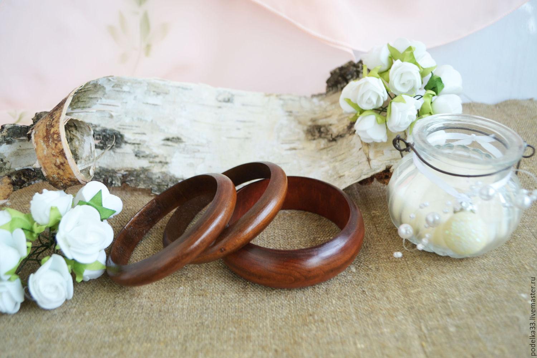 Комплект деревянных браслетов Корица