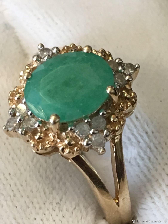Винтаж: Антикварное золотое кольцо, изумруд, 12 бриллиантов, Англия, 1950-е, Кольца винтажные, Лондон,  Фото №1