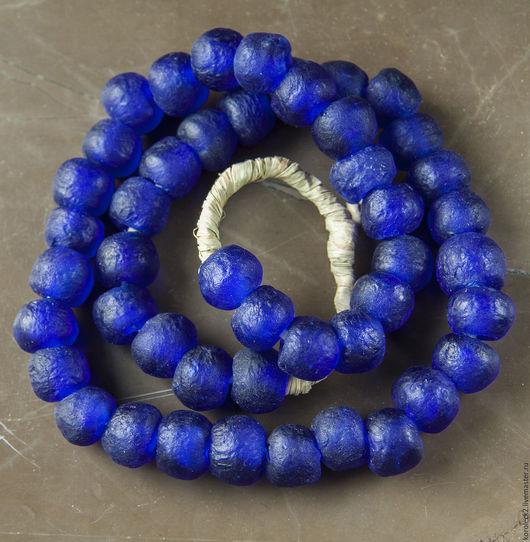 Для украшений ручной работы. Ярмарка Мастеров - ручная работа. Купить Африканские стеклянные кобальтово-синие бусины, 14 мм. Handmade.