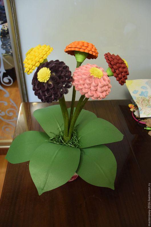 Цветы ручной работы. Ярмарка Мастеров - ручная работа. Купить Цинии. Handmade. Комбинированный, ручная работа купить, ручная работа