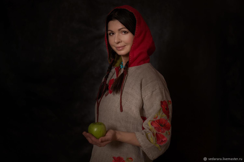 Рубашки: Рубаха с капюшоном крапива домоткань, Одежда, Мытищи, Фото №1