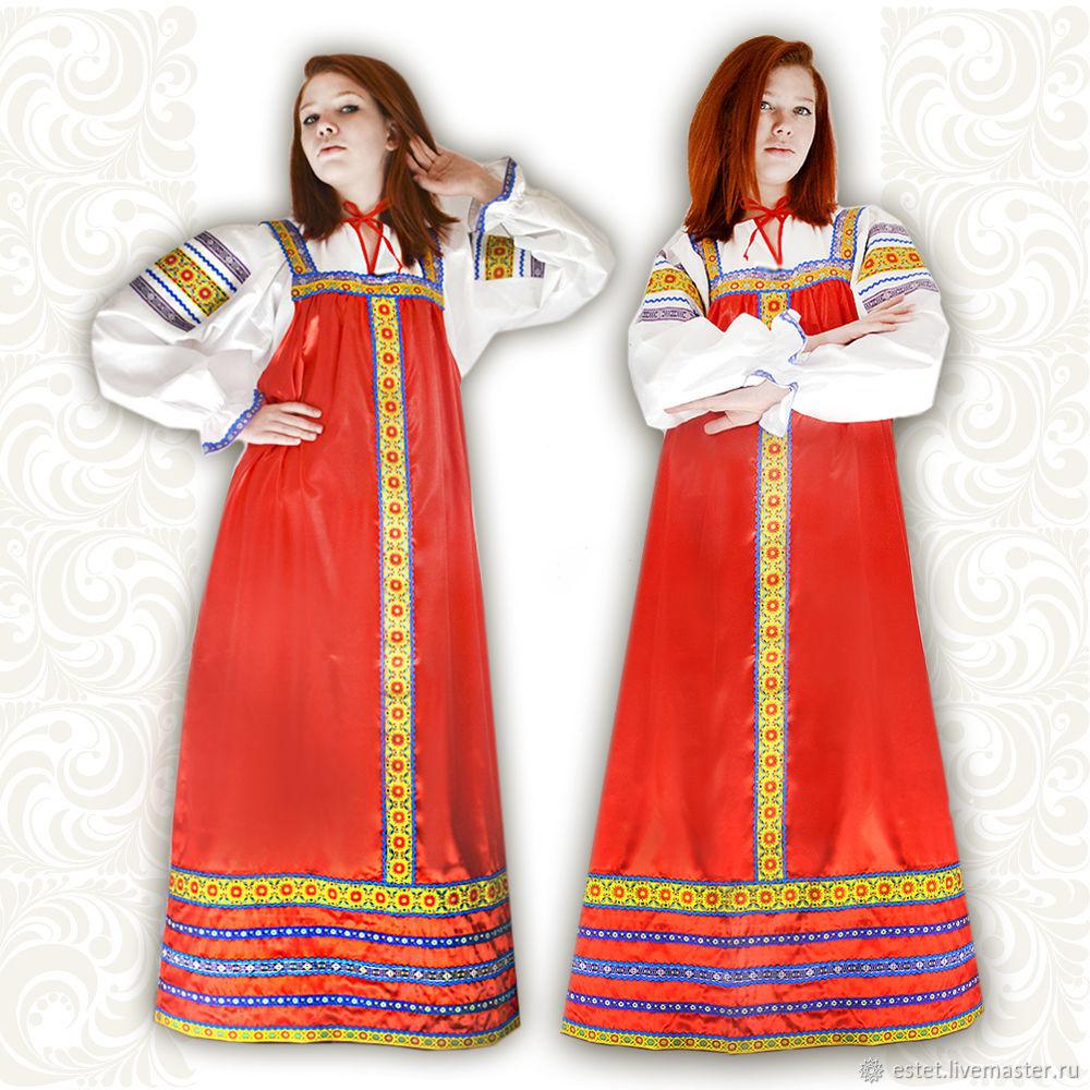 Satin dress for woman and girl Zaryana, Folk dresses, Korolev,  Фото №1