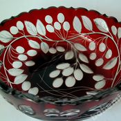 Винтаж handmade. Livemaster - original item Vase bowl red double layer glass Meyrs Neffe.. Handmade.