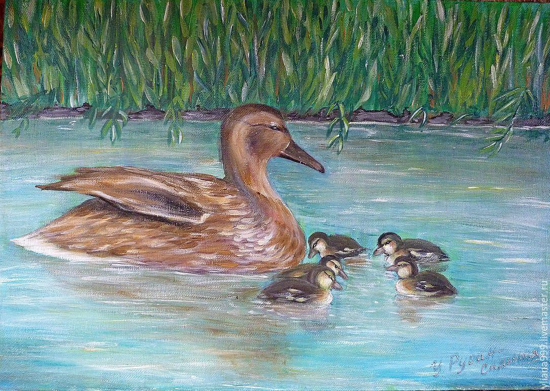 изобретения рисунок утка с утятами идут к озеру час