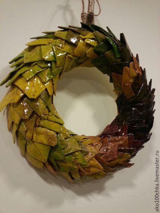 Интерьерные композиции ручной работы. Ярмарка Мастеров - ручная работа. Купить Интерьерный венок из осенних листьев. Handmade. Разноцветный, осень