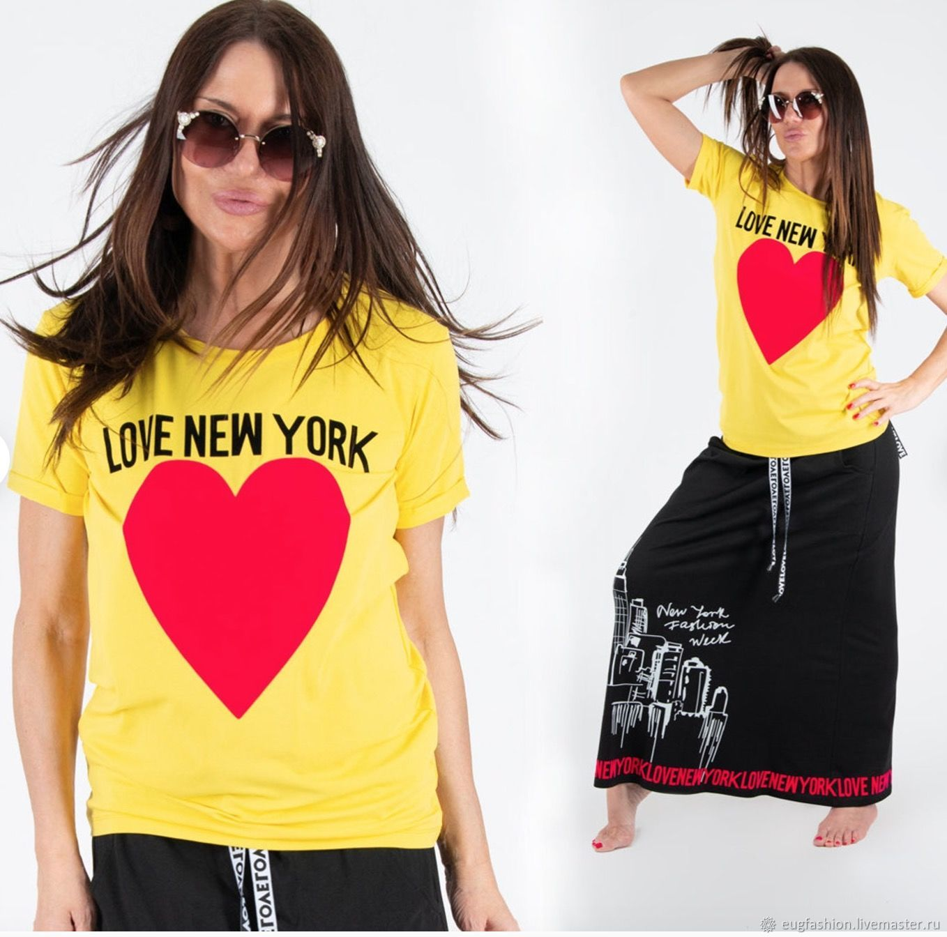 Cotton top / t-Shirt with yellow Love new York print TP0535TR, T-shirts, Sofia,  Фото №1