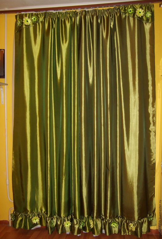 Текстиль, ковры ручной работы. Ярмарка Мастеров - ручная работа. Купить шторы. Handmade. Оливковый, декоративные элементы, атласные ленты