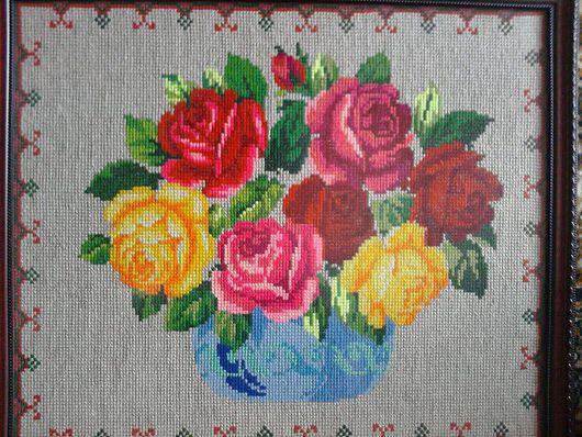 """Картины цветов ручной работы. Ярмарка Мастеров - ручная работа. Купить Картина """"Розы"""". Handmade. Вышивка, ручная вышивка"""