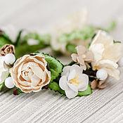 Свадебный салон ручной работы. Ярмарка Мастеров - ручная работа Цветочный браслет невесты Молочное украшение на руку с цветами. Handmade.