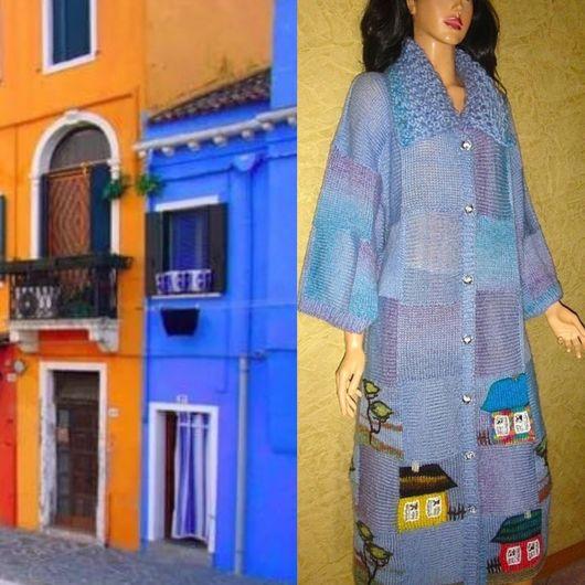 """Верхняя одежда ручной работы. Ярмарка Мастеров - ручная работа. Купить Пальто """"Домики"""" объемное голубое-2. Handmade. кашемир"""