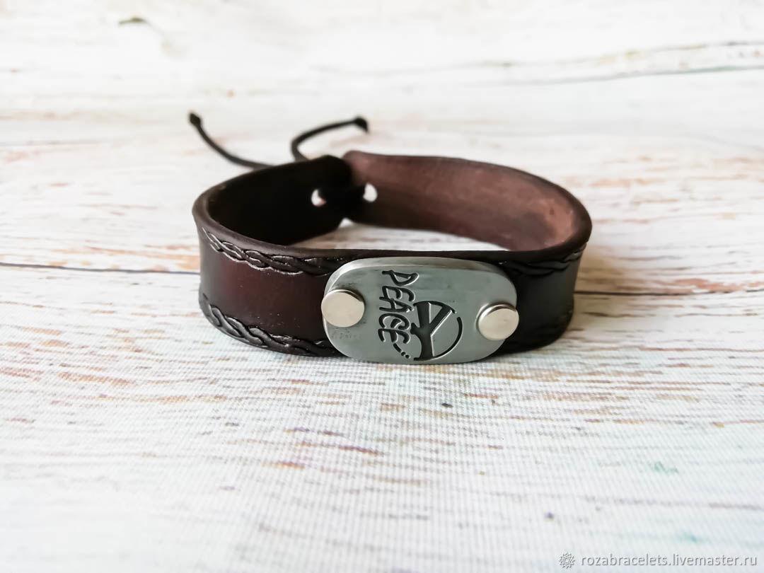 Leather peace bracelet, Cuff bracelet, Ulyanovsk,  Фото №1