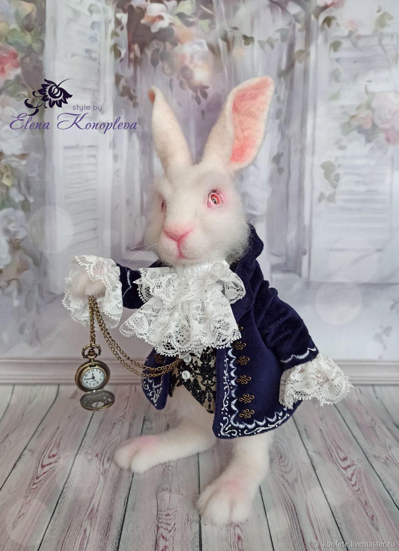 Белый кролик из Алисы в стране чудес заяц игрушка из шерсти, Войлочная игрушка, Нижний Новгород,  Фото №1