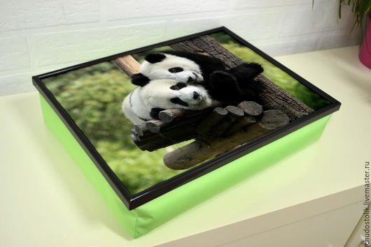 Мебель ручной работы. Ярмарка Мастеров - ручная работа. Купить Столик-поднос на салатовой подушке (с вашей картинкой). Handmade.