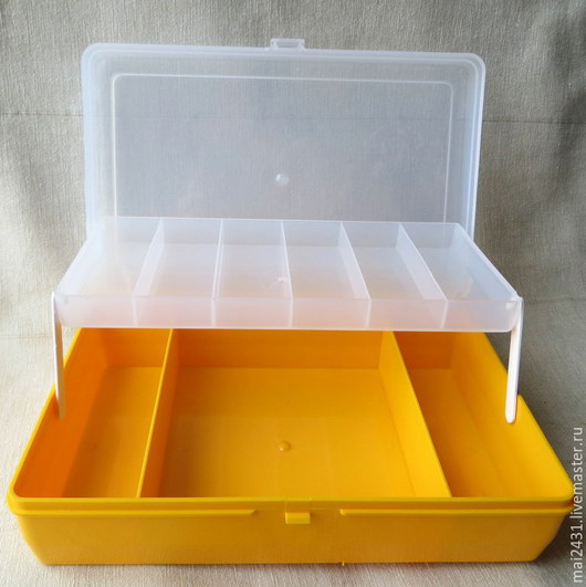 Коробка с лифтом для мелочей желтая