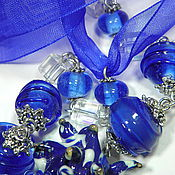 """Украшения ручной работы. Ярмарка Мастеров - ручная работа Бусы """"Три синих цветка"""". Handmade."""