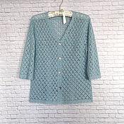 Одежда handmade. Livemaster - original item Openwork cardigan with zipper knit jacket.Turquoise lagoon. Handmade.