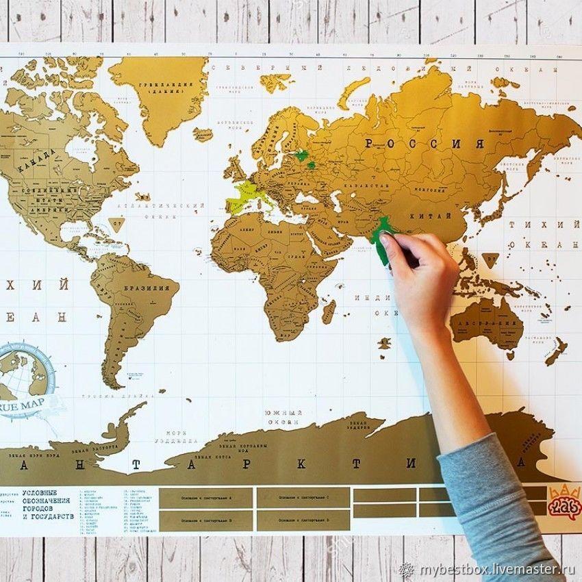 Truemap Original - большая стиральная скретч карта путешествий, Декор, Москва, Фото №1