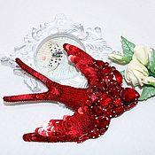 Украшения handmade. Livemaster - original item Red swallow brooch made of stones and beads handmade Embroidery. Handmade.