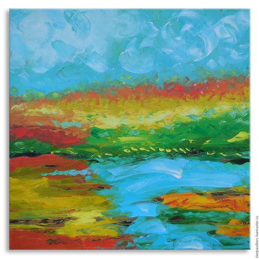 """Пейзаж ручной работы. Ярмарка Мастеров - ручная работа. Купить """"Orange field"""" 65х65 см большая картина маслом мастихином пейзаж. Handmade."""
