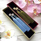 Украшения ручной работы. Ярмарка Мастеров - ручная работа Серьги-кисти Luna голубые сизие светло-синие васильковые в серебре. Handmade.