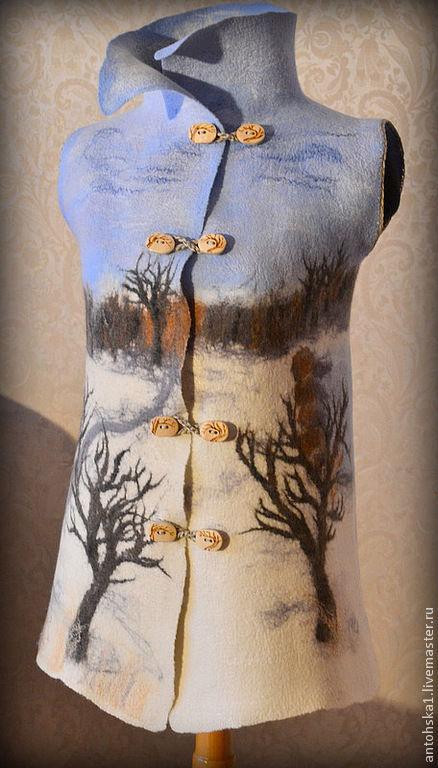 """Жилеты ручной работы. Ярмарка Мастеров - ручная работа. Купить Жилет """" зима"""". Handmade. Рисунок, антонина зимина"""