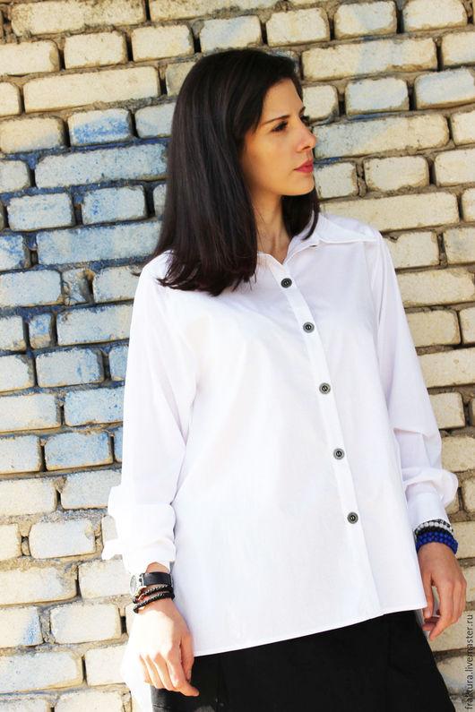 Блузки ручной работы. Ярмарка Мастеров - ручная работа. Купить Экстравагантная рубашка - белая B0014. Handmade. Белый, женская рубашка