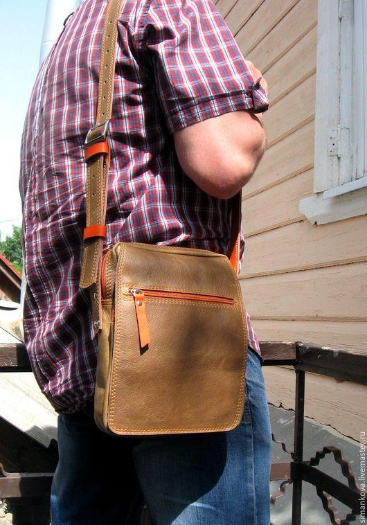 Мужские сумки ручной работы. Ярмарка Мастеров - ручная работа. Купить Для любимого (хаки с рыжим). Handmade. Хаки