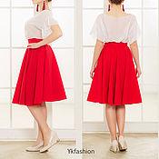 Одежда ручной работы. Ярмарка Мастеров - ручная работа Красная юбка-солнце. Без подкладки. Handmade.