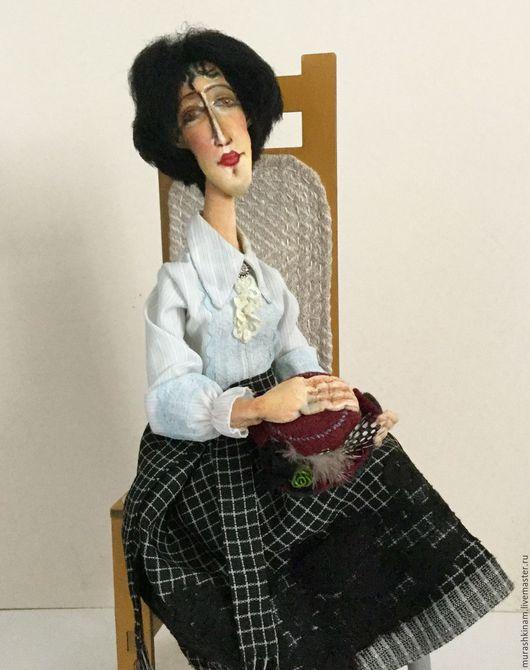 Текстильная кукла `БРЮНЕТКА со ШЛЯПКОЙ` по мотивам Модильяни. Купить