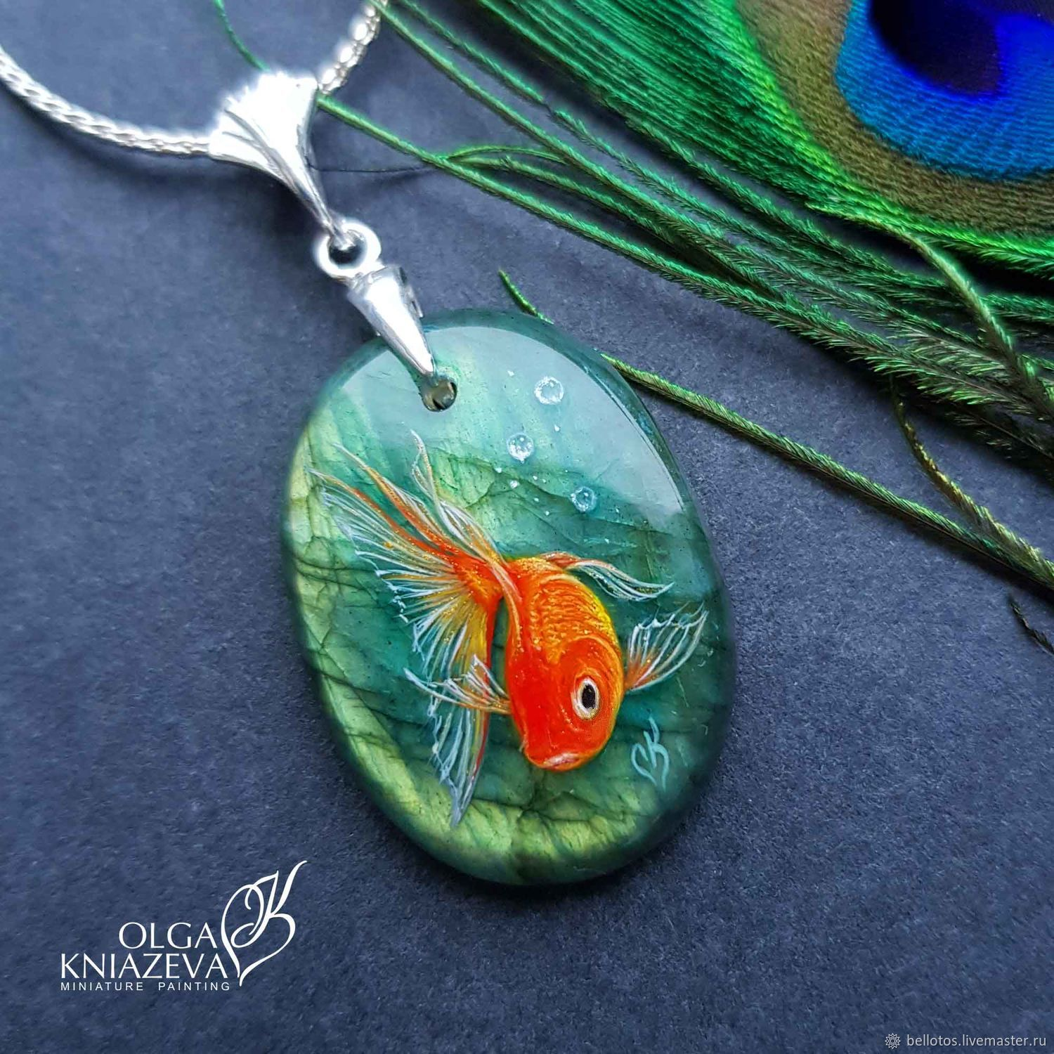 "Pendant ""Gold fish"" - miniature painting on stone, Pendant, Moscow,  Фото №1"