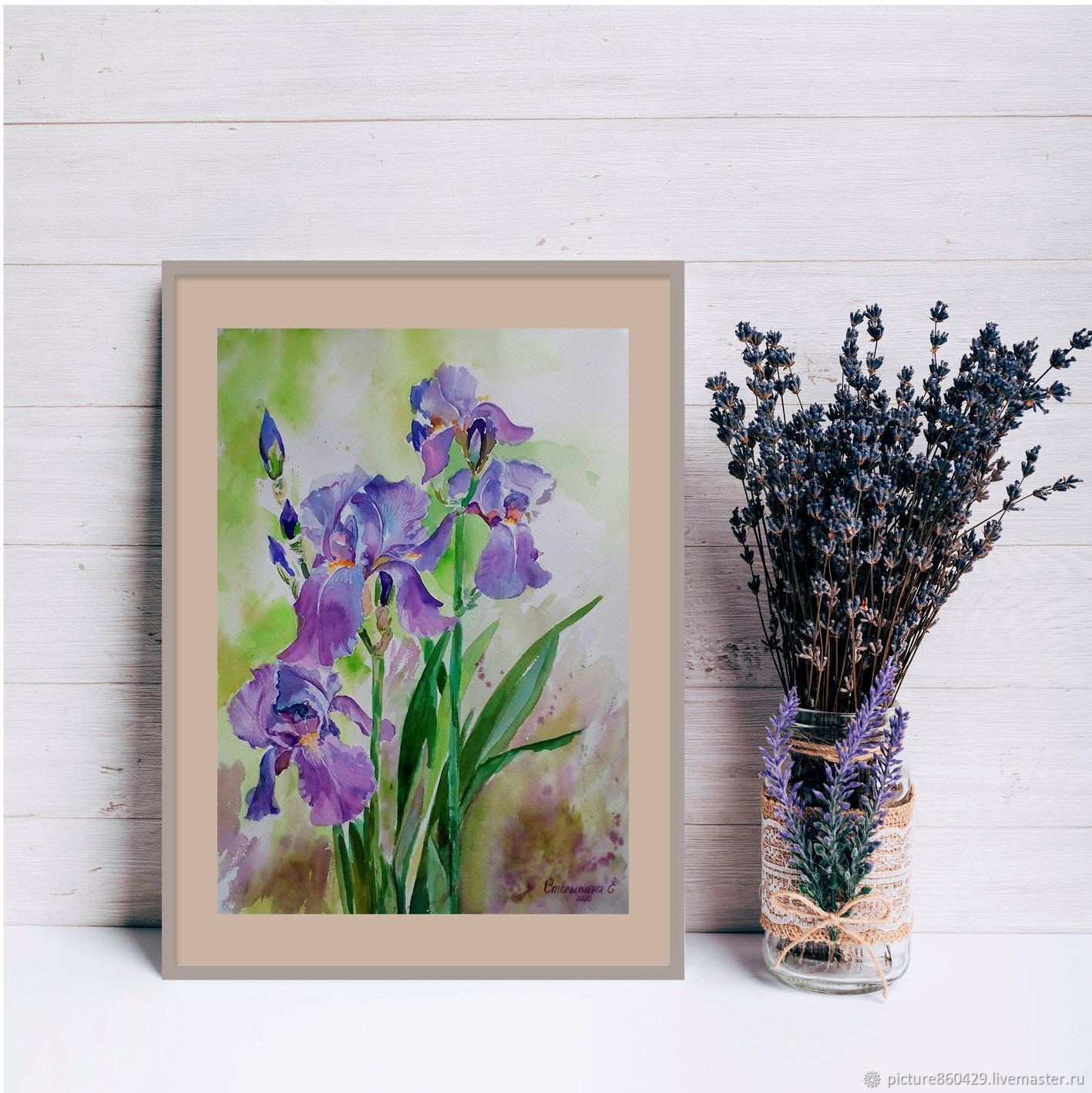 Painting watercolor Irises, Pictures, Vyshny Volochyok,  Фото №1