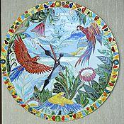 Для дома и интерьера ручной работы. Ярмарка Мастеров - ручная работа Часы круглые Тропическое Лето, попугаи. Handmade.