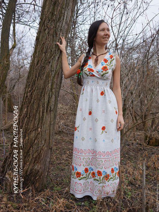 Платья ручной работы. Ярмарка Мастеров - ручная работа. Купить сарафан Маков цвет. Handmade. Белый, васильки, этностиль, хлопок