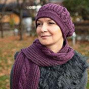 Аксессуары ручной работы. Ярмарка Мастеров - ручная работа Шапка шарф вязаная женская фиолетовый (оттенки синего, бирюзового). Handmade.