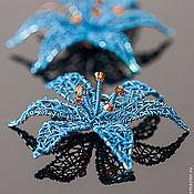 """Украшения ручной работы. Ярмарка Мастеров - ручная работа Серьги """"Blue Lily"""". Handmade."""