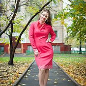 Одежда handmade. Livemaster - original item Coral dress with a bow and lace. Handmade.