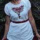 """Блузки ручной работы. Вышитая блузка """"Красные цветочки"""". СЛАВный стиль от Заряны. Интернет-магазин Ярмарка Мастеров. Рисунок"""