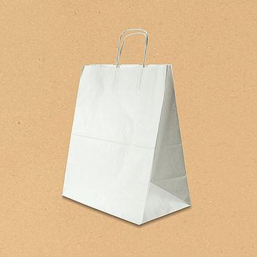 Материалы для творчества ручной работы. Ярмарка Мастеров - ручная работа Пакет Белый с ручками 320х180х370. Handmade.